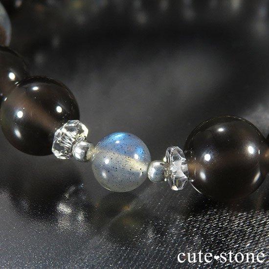 【箱庭の夜】 ガーデンクォーツ レインボーオブシディアン ラブラドライトのブレスレットの写真1 cute stone