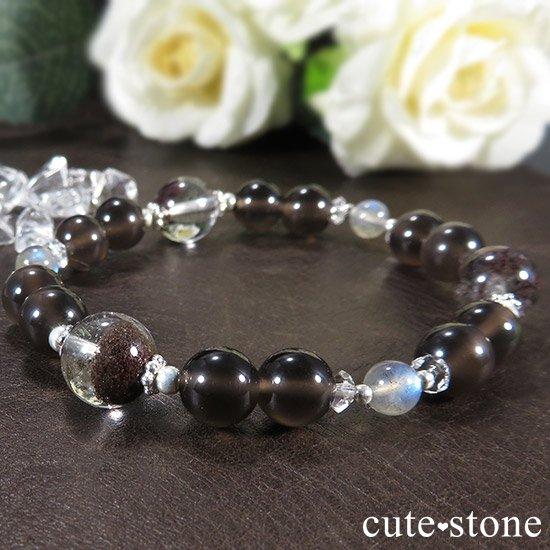 【箱庭の夜】 ガーデンクォーツ レインボーオブシディアン ラブラドライトのブレスレットの写真3 cute stone