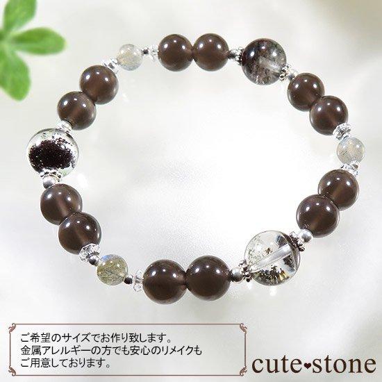 【箱庭の夜】 ガーデンクォーツ レインボーオブシディアン ラブラドライトのブレスレットの写真6 cute stone