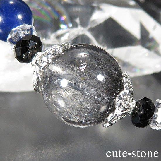 【Black needles】 アンカンガイトインクォーツ ブラックスピネル ガーデンクォーツ インペリアルソーダライトのブレスレットの写真2 cute stone
