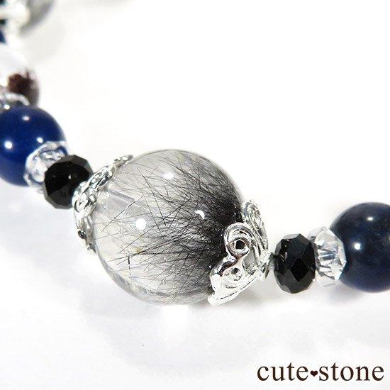 【Black needles】 アンカンガイトインクォーツ ブラックスピネル ガーデンクォーツ インペリアルソーダライトのブレスレットの写真3 cute stone