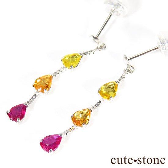 イエローサファイア オレンジサファイア ルビーのピアスの写真2 cute stone