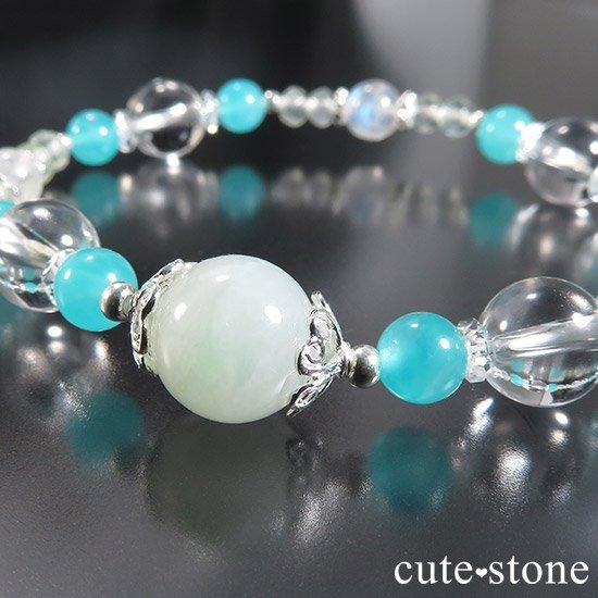 【碧の雫】 翡翠 アイスアマゾナイト レインボームーンストーン プレナイトのブレスレットの写真0 cute stone