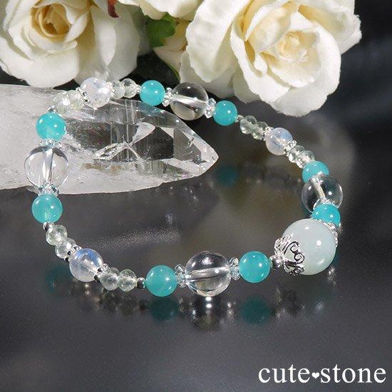 【碧の雫】 翡翠 アイスアマゾナイト レインボームーンストーン プレナイトのブレスレットの写真4 cute stone