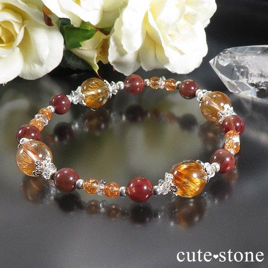 【太陽のかけら】 オレンジゴールドルチルクォーツ アンデシン サンストーンのブレスレットの写真0 cute stone