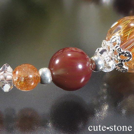 【太陽のかけら】 オレンジゴールドルチルクォーツ アンデシン サンストーンのブレスレットの写真3 cute stone