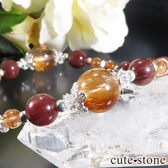 【太陽のかけら】 オレンジゴールドルチルクォーツ アンデシン サンストーンのブレスレットの写真4 cute stone