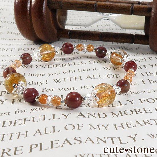 【太陽のかけら】 オレンジゴールドルチルクォーツ アンデシン サンストーンのブレスレットの写真5 cute stone