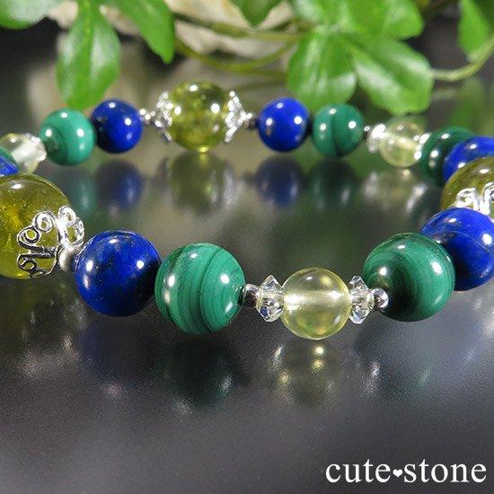 【EARTH COLOR】 グリーングロッシュラーガーネット ラピスラズリ マラカイト プレナイトのブレスレットの写真3 cute stone