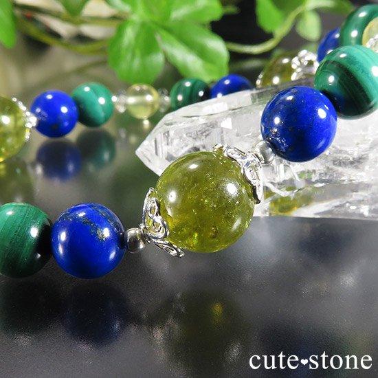 【EARTH COLOR】 グリーングロッシュラーガーネット ラピスラズリ マラカイト プレナイトのブレスレットの写真4 cute stone