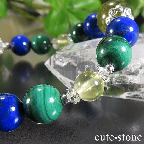 【EARTH COLOR】 グリーングロッシュラーガーネット ラピスラズリ マラカイト プレナイトのブレスレットの写真5 cute stone
