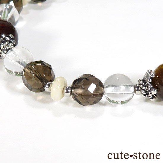【猛虎の活劇】 タイガーアイ レッドタイガーアイ スモーキークォーツ リバーストーン 水晶のブレスレットの写真0 cute stone