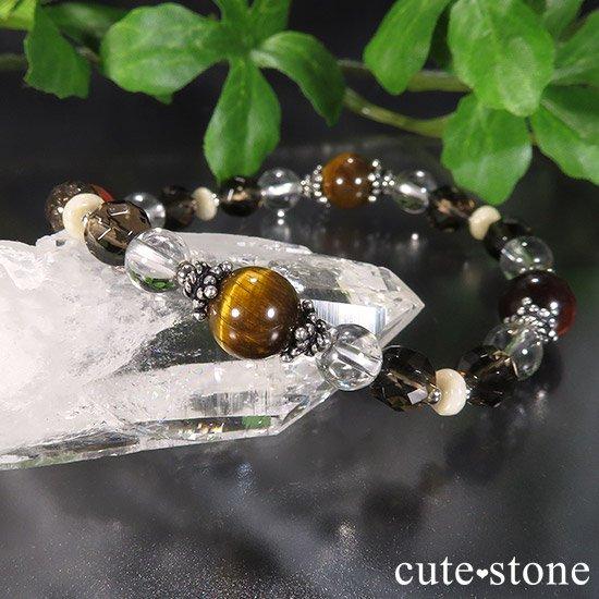 【猛虎の活劇】 タイガーアイ レッドタイガーアイ スモーキークォーツ リバーストーン 水晶のブレスレットの写真4 cute stone