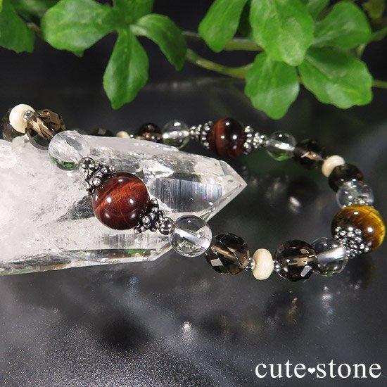 【猛虎の活劇】 タイガーアイ レッドタイガーアイ スモーキークォーツ リバーストーン 水晶のブレスレットの写真5 cute stone
