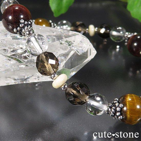 【猛虎の活劇】 タイガーアイ レッドタイガーアイ スモーキークォーツ リバーストーン 水晶のブレスレットの写真6 cute stone