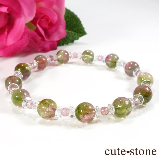 【CANDY RING】 ウォーターメロントルマリン ピンクトルマリン 水晶のブレスレットの写真0 cute stone