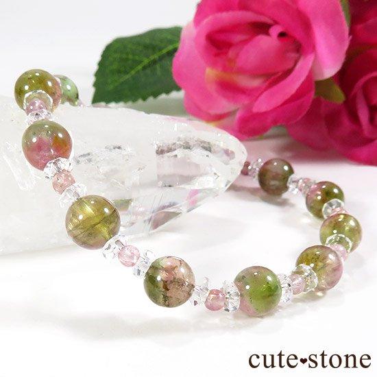 【CANDY RING】 ウォーターメロントルマリン ピンクトルマリン 水晶のブレスレットの写真1 cute stone