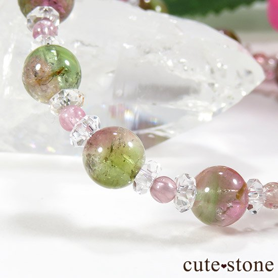 【CANDY RING】 ウォーターメロントルマリン ピンクトルマリン 水晶のブレスレットの写真4 cute stone