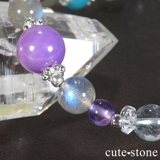 【冬の彩】 ターコイズ フォスフォシデライト ラブラドライト ブルートパーズ アメジストのブレスレットの写真3 cute stone