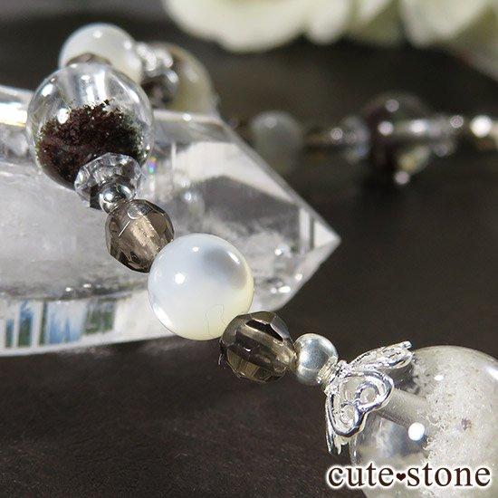 【Snow globe】 ホワイトガーデンクォーツ ガーデンクォーツ スモーキークォーツ マザーオブパール 水晶のブレスレットの写真4 cute stone