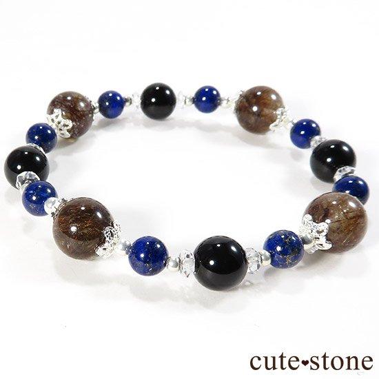 【AZZURRO E MARRONE】 ブラウンルチル ラピスラズリ モリオン 水晶のブレスレットの写真0 cute stone