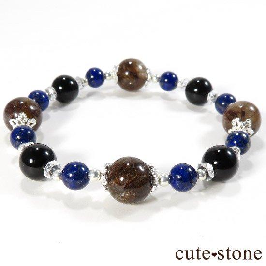 【AZZURRO E MARRONE】 ブラウンルチル ラピスラズリ モリオン 水晶のブレスレットの写真1 cute stone