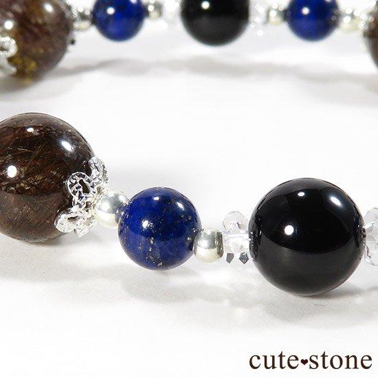 【AZZURRO E MARRONE】 ブラウンルチル ラピスラズリ モリオン 水晶のブレスレットの写真3 cute stone
