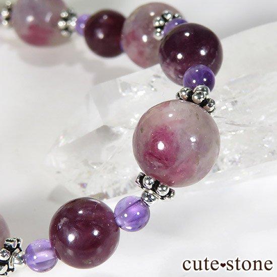 【Elegant bouquet】 トルマリンインレピドライトシリカ レピドライト アメジストのブレスレットの写真1 cute stone
