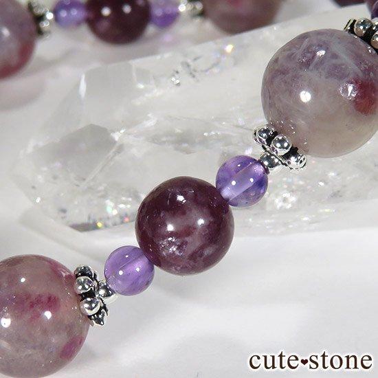 【Elegant bouquet】 トルマリンインレピドライトシリカ レピドライト アメジストのブレスレットの写真2 cute stone
