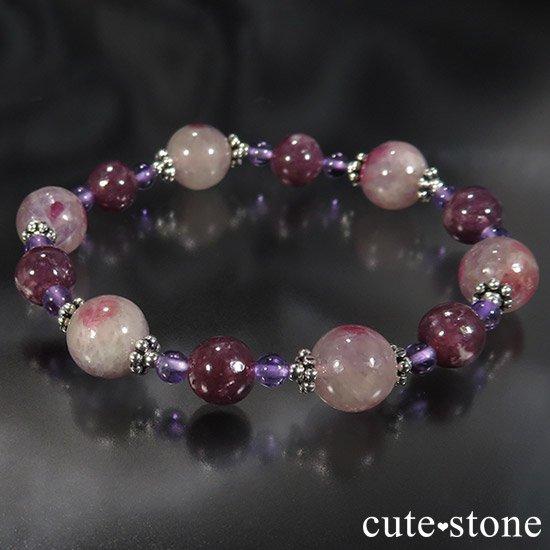【Elegant bouquet】 トルマリンインレピドライトシリカ レピドライト アメジストのブレスレットの写真3 cute stone