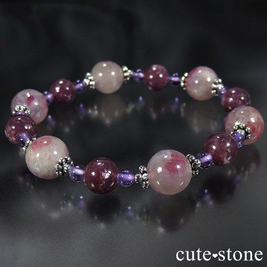 【Elegant bouquet】 トルマリンインレピドライトシリカ レピドライト アメジストのブレスレットの写真4 cute stone