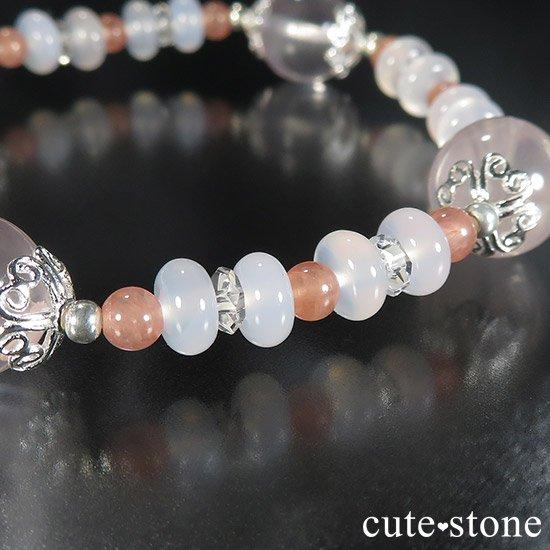 【冬の花】 スターローズクォーツ インカローズ ホワイトカルセドニーのブレスレットの写真1 cute stone