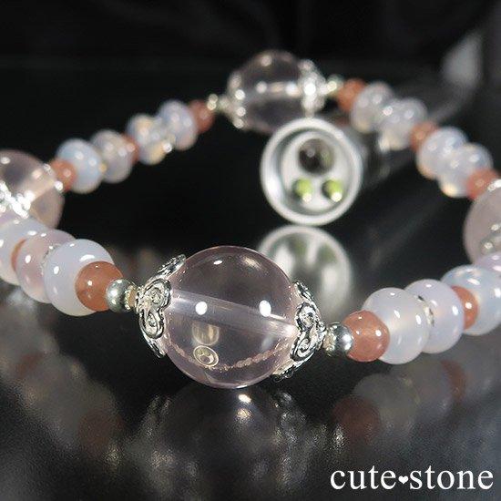 【冬の花】 スターローズクォーツ インカローズ ホワイトカルセドニーのブレスレットの写真2 cute stone