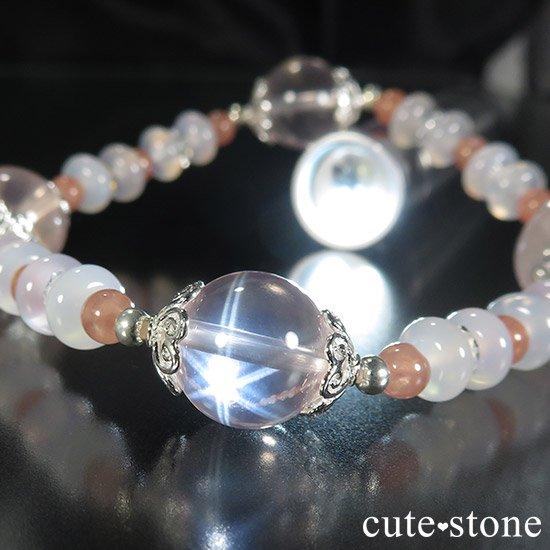 【冬の花】 スターローズクォーツ インカローズ ホワイトカルセドニーのブレスレットの写真3 cute stone