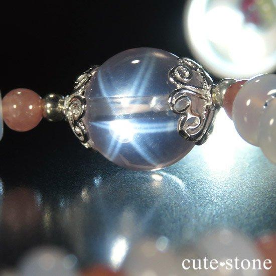 【冬の花】 スターローズクォーツ インカローズ ホワイトカルセドニーのブレスレットの写真4 cute stone
