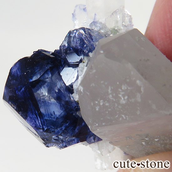 湖南省産ディープブルーフローライト&水晶の標本(原石)の写真1 cute stone