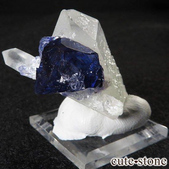 湖南省産ディープブルーフローライト&水晶の標本(原石)の写真4 cute stone