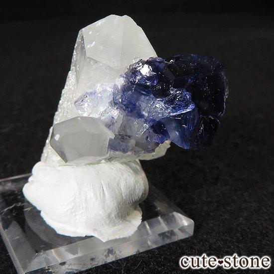 湖南省産ディープブルーフローライト&水晶の標本(原石)の写真5 cute stone