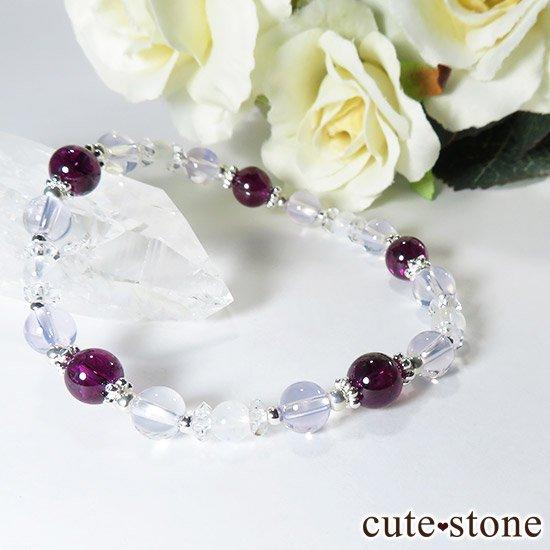 【神秘の紫】 ロードライトガーネット スコロライト レインボームーンストーンのブレスレットの写真0 cute stone