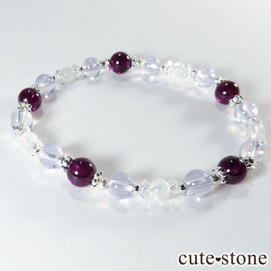 【神秘の紫】 ロードライトガーネット スコロライト レインボームーンストーンのブレスレットの写真1 cute stone