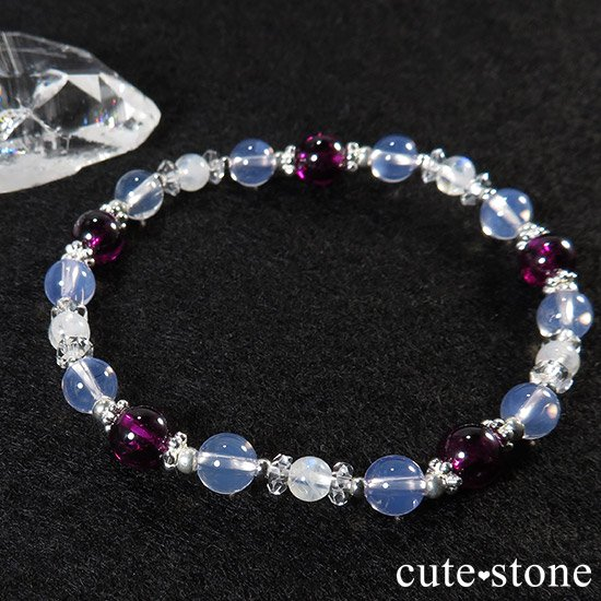 【神秘の紫】 ロードライトガーネット スコロライト レインボームーンストーンのブレスレットの写真2 cute stone