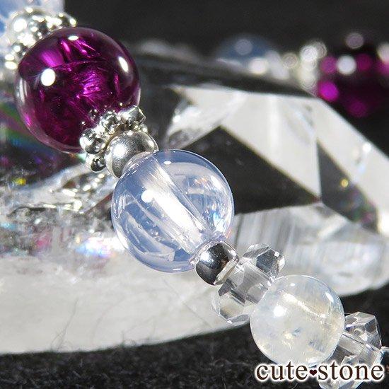 【神秘の紫】 ロードライトガーネット スコロライト レインボームーンストーンのブレスレットの写真3 cute stone
