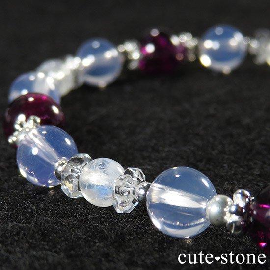 【神秘の紫】 ロードライトガーネット スコロライト レインボームーンストーンのブレスレットの写真4 cute stone