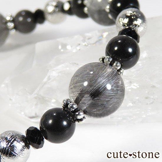 【Cosmo bracelet】プラチナクォーツ ムオニナルスタ ブラックスキャポライト ブラックスピネルのブレスレットの写真0 cute stone