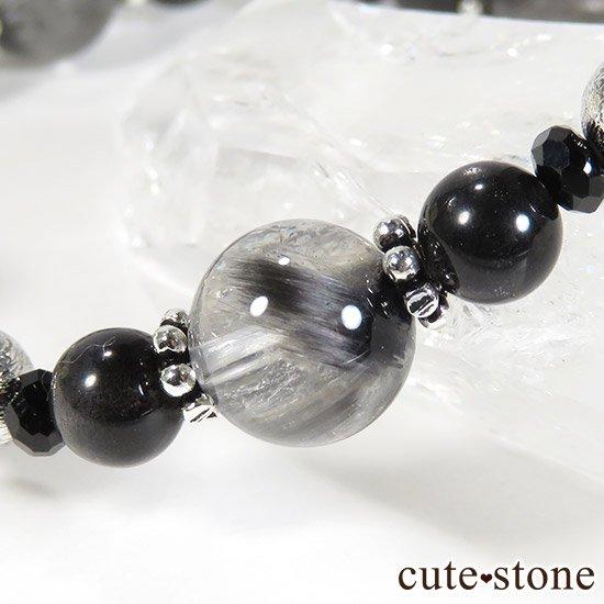 【Cosmo bracelet】プラチナクォーツ ムオニナルスタ ブラックスキャポライト ブラックスピネルのブレスレットの写真1 cute stone