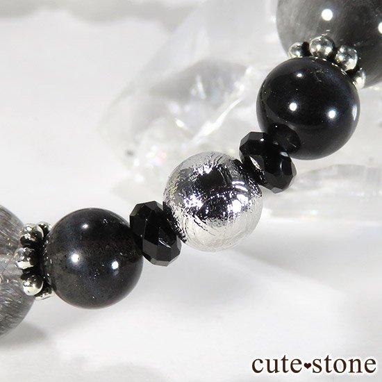 【Cosmo bracelet】プラチナクォーツ ムオニナルスタ ブラックスキャポライト ブラックスピネルのブレスレットの写真2 cute stone