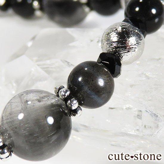 【Cosmo bracelet】プラチナクォーツ ムオニナルスタ ブラックスキャポライト ブラックスピネルのブレスレットの写真3 cute stone
