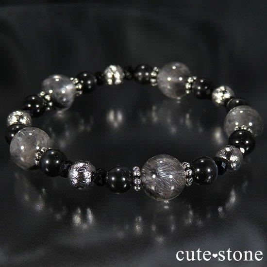 【Cosmo bracelet】プラチナクォーツ ムオニナルスタ ブラックスキャポライト ブラックスピネルのブレスレットの写真5 cute stone