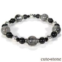 【Cosmo bracelet】プラチナクォーツ ムオニナルスタ ブラックスキャポライト ブラックスピネルのブレスレットの画像
