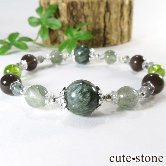 【緑の王】 セラフィナイト アクチノライトインクォーツ ペリドット レインボーオブシディアン モスアゲートのブレスレットの写真0 cute stone
